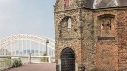 Waalbrug en Sint Nicolaas Church in the Valkhof in Nijmegen, Netherlands